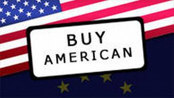 US and EU flags with Buy American slogan on top
