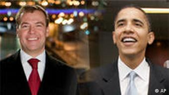 Montage of photos from Medvedev and Obama