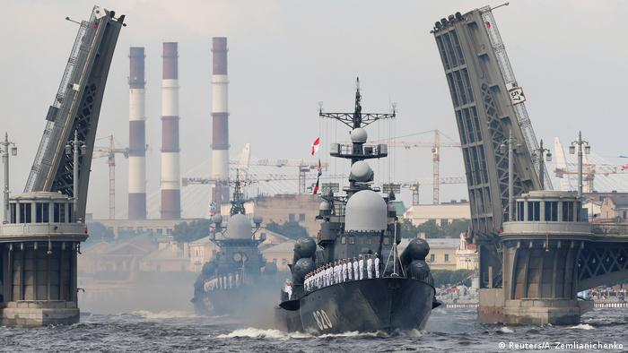 Russian naval ships on the Neva River