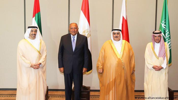 Bahrain Außenminister von VAE, Saudi Arabien und Ägypten (picture-alliance/abaca/Stringer)