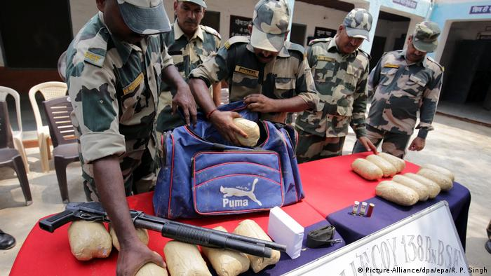 Indian Border Security Force soldiers seized narcotics at the border with Pakistan last year
