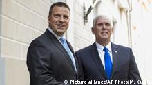 U.S. Vice President Mike Pence, right, and Estonia's Prime Minister Juri Ratas pose for photographers prior to their meeting at the Government palace in Tallinn, Estonia, Sunday, July 30, 2017. Pence arrived in Tallinn for a two day visit where he will meet Baltic States leaders to discuss regional security issues as well as economic and political topics. (AP Photo/Mindaugas Kulbis) |