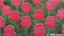 Gedenkfeier Erster Weltkrieg, 100 Jahre Beginn 3. Ypernschlacht, Poppyfield am Friedhof Tyne Cot, Belgien, Briten erinnern mit Mohnblumen an die Gefallenen, Aufgenommen am 31.07.2017, Foto: Bernd Riegert, DW, alle Rechte
