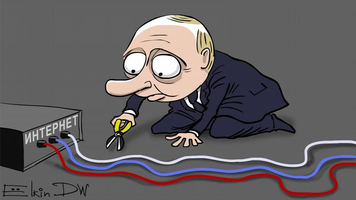 Caricature of Putin cutting wires to internet