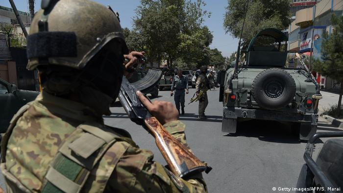 Afghan security forces respond to the attack on the Iraqi embassy in Kabul.