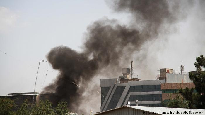 Video footage showed black smoke billowing up over the Iraqi embassy in Kabul.