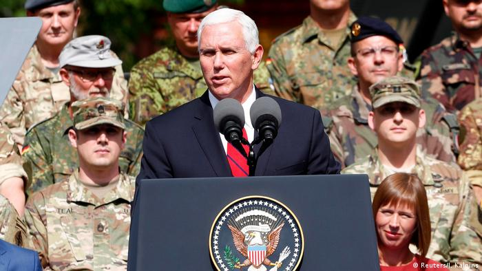 US Vice President Mike Pence delivers a speech during his visit to NATO's Enhanced Forward Presence mission in Tallinn, Estonia, in 2017