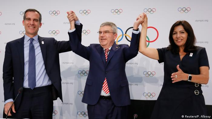 IOC president Thomas Bach, Eric Garcetti and Anne Hidalgo
