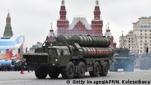 Russian S-400 Triumph medium-range and long-range surface-to-air missile systems ride through Red Square during the Victory Day military parade in Moscow on May 9, 2017. Russia marks the 72nd anniversary of the Soviet Union's victory over Nazi Germany in World War Two. / AFP PHOTO / Natalia KOLESNIKOVA (Photo credit should read NATALIA KOLESNIKOVA/AFP/Getty Images)