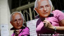 Venezuela Caracas - Unterstützer der Opposition mit Masken des ehemaligen Bürgermeisters Antonio Ledezma