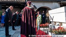 Mazedonien Bulgarien Zaev und Borisov am Goce Delcev Denkmal in Skopje