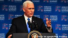 02.08.2017 US Vice President Mike Pence speaks at the Adriatic Charter Summit in Podgorica on August 2, 2017. US Vice President Mike Pence said that the future of the Western Balkans lay in the West, on the last leg of a tour aimed at reassuring Eastern European allies worried by Russia. / AFP PHOTO / Savo PRELEVIC (Photo credit should read SAVO PRELEVIC/AFP/Getty Images)