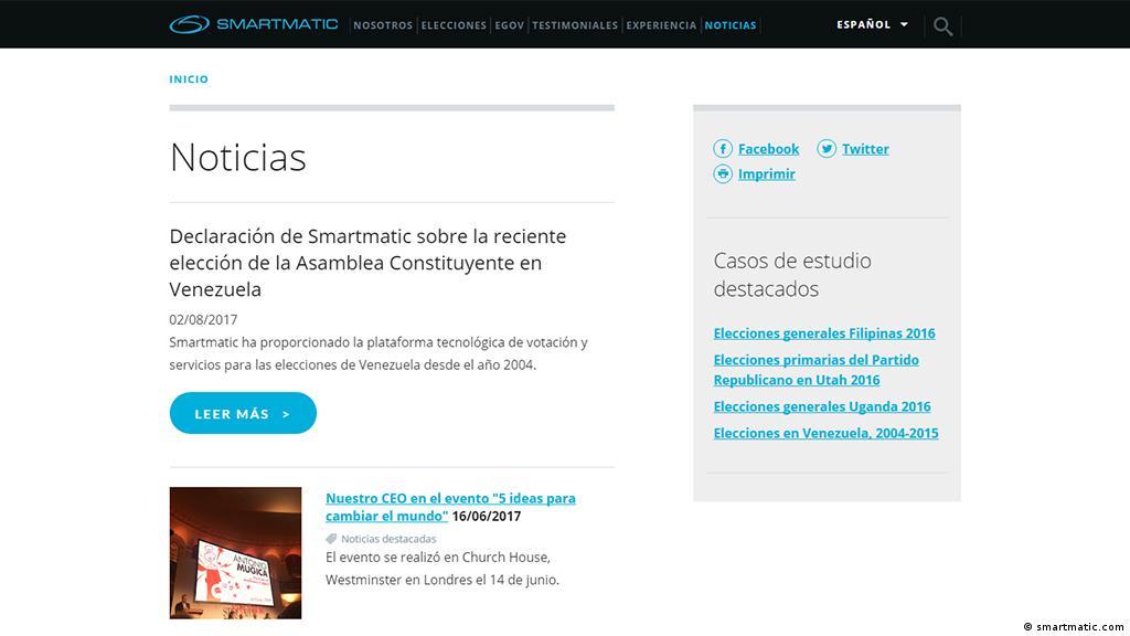 Screenshot der Seite smartmatic.com