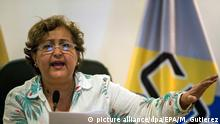 epa05451465 President of the National Electoral Council (CNE) Tibisay Lucena adresses the media during a press conference in Caracas, Venezuela, 01 August 2016. The CNE announced that the fulfillment of the first phase of the recall referendum against Venezuelan President Nicolas Maduro was successful, and it could proceed to the next stage, without specifying when it will be held. The institution added that it will investigate on all alleged irregularities occurred during the first phase after Senior Socialist Party leader (PSUV) Jorge Rodriguez's objections. Out of 1.9 million signatures collected for the referendum, 1.6 million were considered valid, making it the first step out of 12 to launch a recall referendum, media reported. EPA/MIGUEL GUTIERREZ |