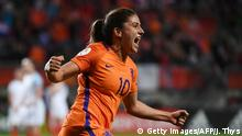 Netherlands' midfielder Danielle van de Donk celebrates after scoring a goal during the UEFA Womens Euro 2017 football tournament semi-final match between Netherlands and England at the FC Twente Stadium, in Enschede on August 3, 2017. / AFP PHOTO / JOHN THYS (Photo credit should read JOHN THYS/AFP/Getty Images)