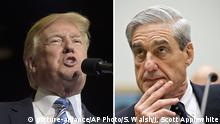 Bild links: President Donald Trump speaks at a campaign-style rally at Big Sandy Superstore Arena in Huntington, W.Va., Thursday, Aug. 3, 2017. (AP Photo/Susan Walsh) | Bild rechts: FILE - In this June 13, 2013 file photo, FBI Director Robert Mueller listens as he testifies on Capitol Hill in Washington, as the House Judiciary Committee held an oversight hearing on the FBI. Special Counsel Robert Mueller's team of lawyers investigating potential coordination between Russia and the Trump campaign is still growing, but its early composition reveals a breadth of experience in criminal law and in following the money. (AP Photo/J. Scott Applewhite) |