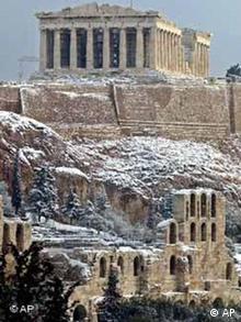 Akropolis im Schnee