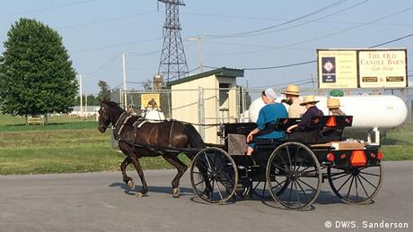 Amish people riding with a horse and buggy (DW/S. Sanderson)