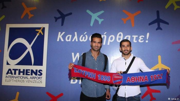 Griechenland Athen - Ehsan Hasjsafi (rechts) und Masoud Shojaei (links) (isna.ir)