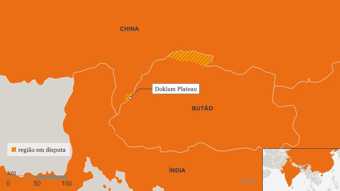 Karte Doklam Hochebene BRA