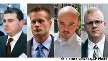 This combination made from file photo shows Blackwater guards, from left, Dustin Heard, Evan Liberty, Nicholas Slatten and Paul Slough. A years-long legal fight over a deadly mass shooting of civilians in an Iraq war zone reaches its reckoning point, when the former Blackwater security guards are sentenced for the rampage. Three of the guards, Heard, Liberty and Slough, face mandatory decades-long sentences because of firearms convictions. Slatten faces a penalty of life in prison after being found guilty of first-degree murder. (AP Photo) |