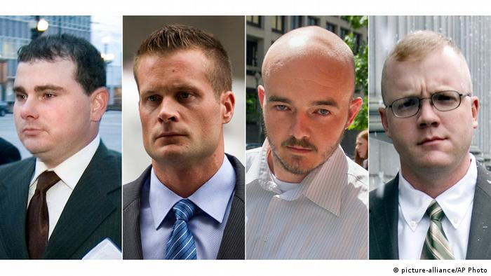 Blackwater guards Dustin Heard, Evan Liberty, Nicholas Slatten and Paul Slough (picture-alliance/AP Photo)