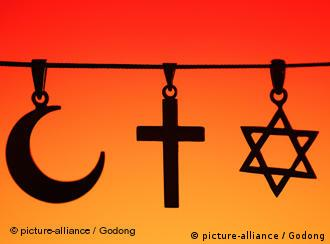 Religiöse Symbole für Islam, Christentum und Judentum