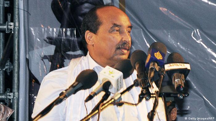 Mauritanian President Mohamed Ould Abdel Aziz at a rally ahead of the referendum, in Nouakchott