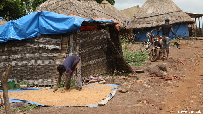 A man places stones on the ground to dry next to a thatched hut