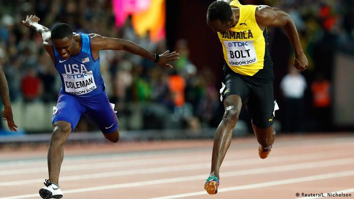 Christian Coleman of the US and Usain Bolt of Jamaica compete in the men's 100 meters final at the World Athletics Championships in London (Reuters/L. Nicholson)