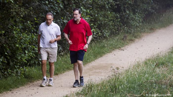 Spanish Prime Minister Mariano Rajoy in Galicia on vacation