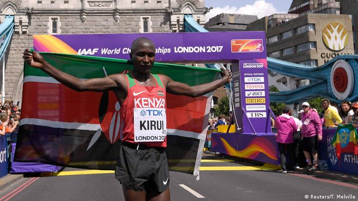 Geoffrey Kipkorir Kirui won gold for Kenya in the marathon at the previous World Athletics Championship