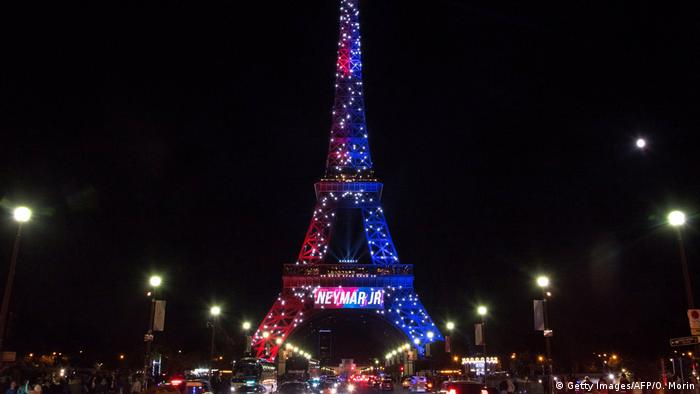 The Eiffel Tower lit up to welcome Brazilian soccer player Neymar to PSG