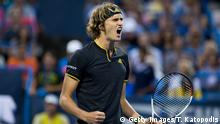 WASHINGTON, DC - AUGUST 05: Alexander Zverev of Germany competes Kei Nishikori of Japan at William H.G. FitzGerald Tennis Center on August 5, 2017 in Washington, DC. (Photo by Tasos Katopodis/Getty Images)