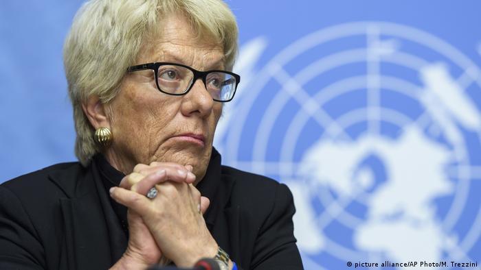 Carla del Ponte gibt ihren Posten in der Uno-Untersuchungskommission für Syrien ab (picture alliance/AP Photo/M. Trezzini)