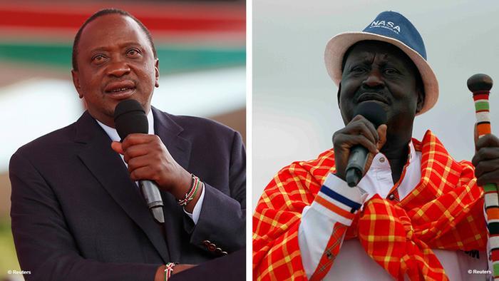 Presidente queniano, Uhuru Kenyatta (esq.), e líder da oposição, Raila Odinga
