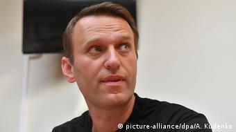 Russian opposition politician Alexei Navalny's before a court hearing