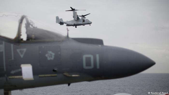 A US Marines MV-22 Osprey comes in to land on the USS Bonhomme Richard