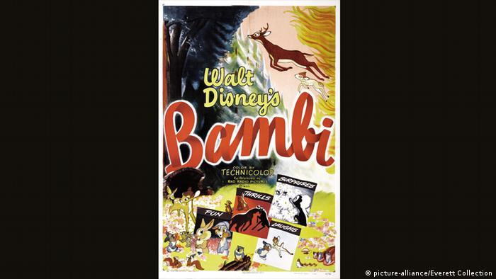 Walt Disney | original Bambi poster featuring drawings of main charcters Thumper, Flower, Owl and the Great Prince (picture-alliance/Everett Collection)