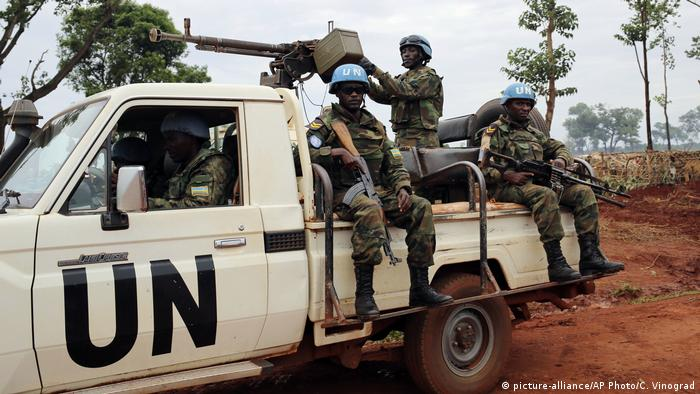 Troops from the United Nations peacekeeping mission to the Central African Republic MINUSCA sitting on a UN truck