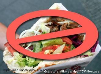 A kebab, with a sign indicating that it is forbidden