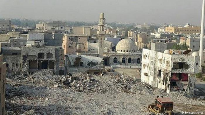 Screenshot from Twitterof the destruction of the Saudi city of Awamiya (Twitter/trbrtc)