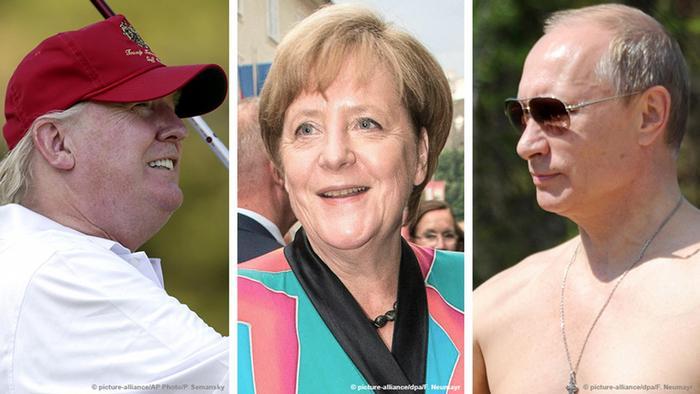 Bild-Kombo Trump Merkel Putin Urlaub