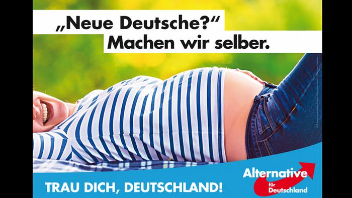 AfD Election poster showing a pregnant white woman lying on her back with the caption: New Germans? We'll make them ourselves.
