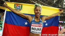 LONDON, ENGLAND - AUGUST 07: Yulimar Rojas of Venezuela celebrates after winning the the Women's Triple Jump final during day four of the 16th IAAF World Athletics Championships London 2017 at The London Stadium on August 7, 2017 in London, United Kingdom. (Photo by Patrick Smith/Getty Images)