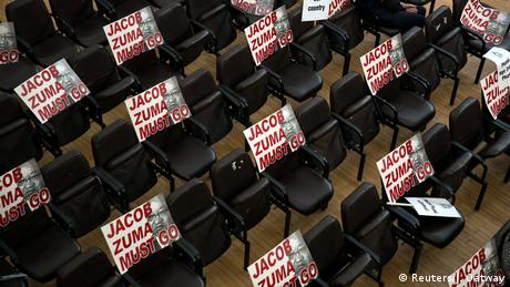 Empty chairs with signs that read Jacob Zuma must go (photo: Reuters/J. Oatway)