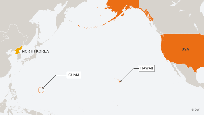 Map of the Pacific Ocean showing Guam and Hawaii, the US and North Korea