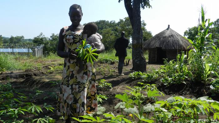 A South Sudanese refugee woman with her baby in Uganda attending to her cassava plants DWD Pelz