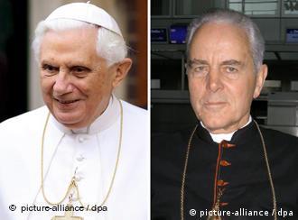 Die Kombo zeigt Papst Benedikt XVI. (links) und den britischen Bischof Richard Williamson (Quelle: dpa)
