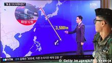 Südkorea TV zeigt die Distanz von Nordkorea zu Guam bei einem möglichen Rakteneinsatz